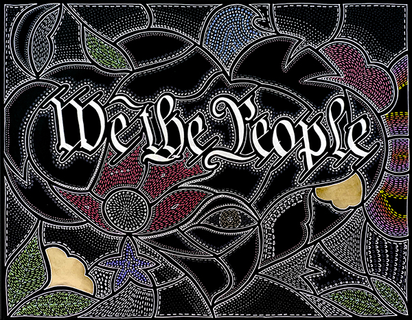 We the People Ink and gold paint on paper